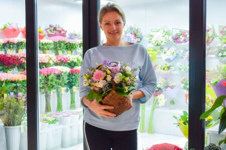 Florist in the workplace. Flower shop