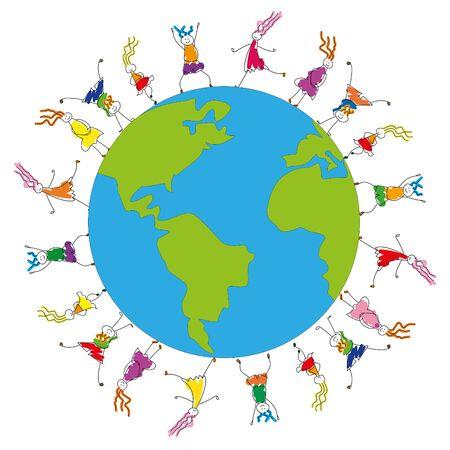 Taking care of children. Kids on the globe. Imagens