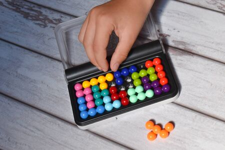 interesting game for children to develop memory and intelligence. Stock Photo