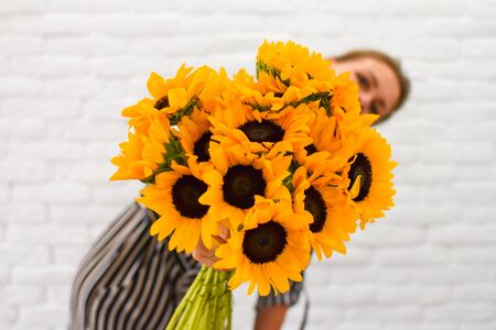 flowers gift for a woman. Beautiful yellow bouquet.