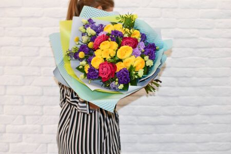 flowers as a gift for a woman. Beautiful bouquet.