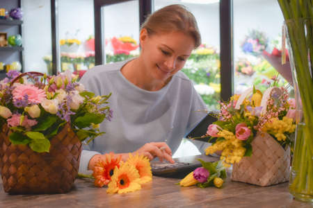 Floral shop flowers. Flower delivery online. Ordering living bouquets Archivio Fotografico