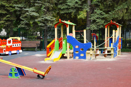 colorful children's playground in park, play for children outside