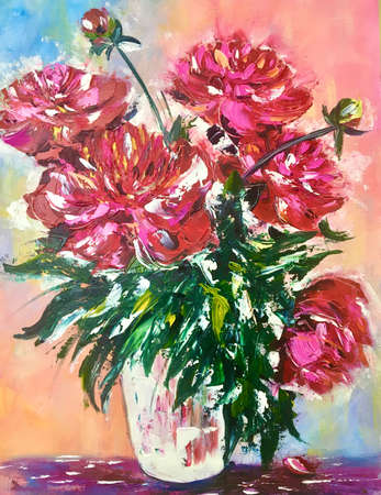 flowers peonies oil painting, pink painted flowers in vase with oil paints on canvas, hobby drawing with a palette knife