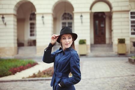 Portrait of young elegant woman. Street fashion concept. Stock Photo