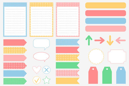 A set of elements for a notepad, planner, or diary. Stickers for scrapbooking. To-do list, frames, bookmarks, frames. Vector illustration. Vektorové ilustrace
