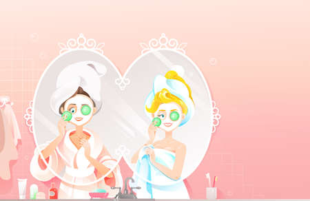 Two Beautiful Women with Towels on their Heads Applying Natural Face Mask with Slices of Cucumber near the Mirror. Girls Make Skin Care Using Homemade Natural Mask Vector Illustration