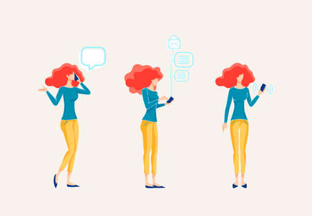 Woman Uses Mobile Phone for Business Conversations. Girl Holds the Cellphone in her Hand and Checks the Email. Office Worker Answering Calls Flat Vector Illustration
