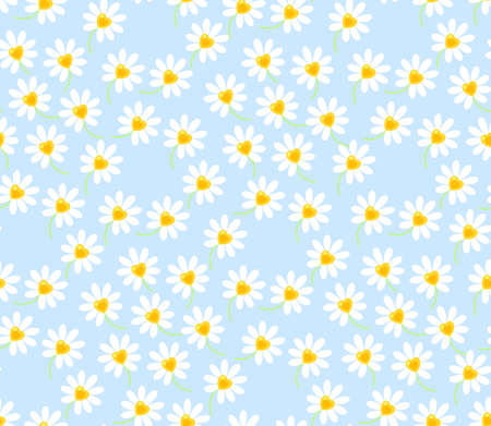 floral vector seamless pattern white daisy flower on blue background with heart shaped flower center. Wild marguerite flower texture for fabric Ilustrace