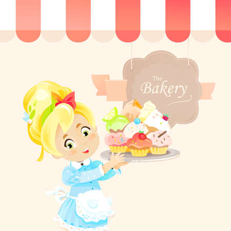 A cute little girl holds cupcakes or muffins on the tray and stands under awning of bakery shop vector illustration. Child baker made delicious pastry food and offers try own made pastries Ilustração