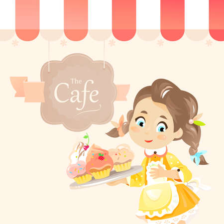 A cute little girl holds cupcakes or muffins on the tray and stands under awning of cafe vector illustration. Child baker made delicious pastry food Ilustração