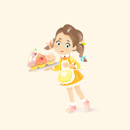 Girl in Apron holds a Cupcakes on the tray. Vector illustration of Child Baker that produce Pastry Muffins Ilustracja