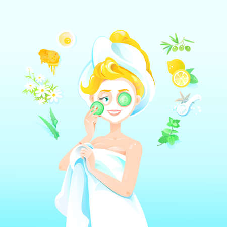 Beautiful Blond Girl Applies Homemade Mask with White Clay and Cucumber. Vector Illustration Woman Using Natural Products for Skin care and Beauty