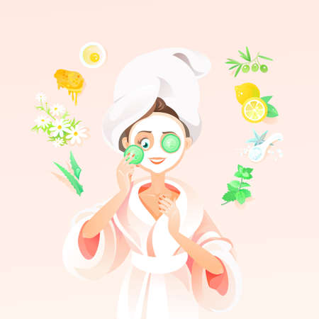 Beautiful Brunette Girl Applies Homemade Mask with White Clay and Cucumber. Vector Illustration Woman Using Natural Products for Skin care and Beauty