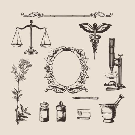 farmacia: Conjunto de elementos dibujados a mano de farmacia o química. Vector. Vectores