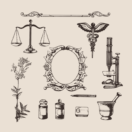 caduceus: Set of hand-drawn elements of pharmacy or chemistry. Vector.