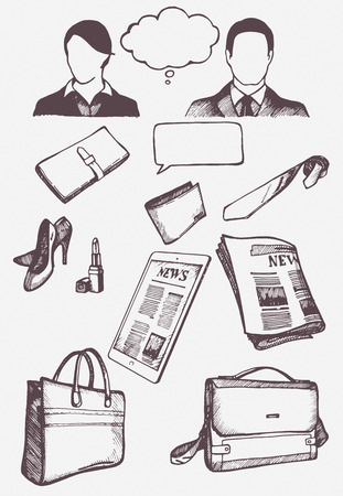 Set of hand drawn objects for business people. Vectori solated elements.