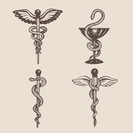 Hand drawn Caduceus. Vector.