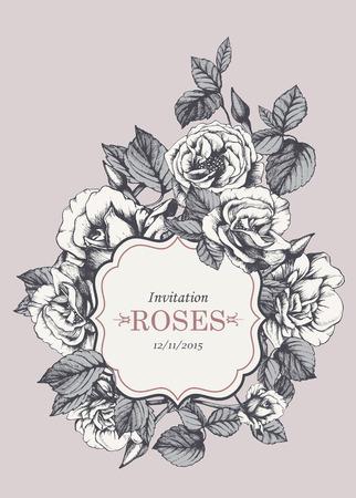 invitación de la vendimia floral con rosas de jardín dibujado a mano. Vector aislados elementos.