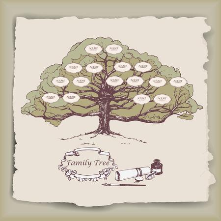 albero genealogico disegnati a mano con elementi decorativi. Vettore