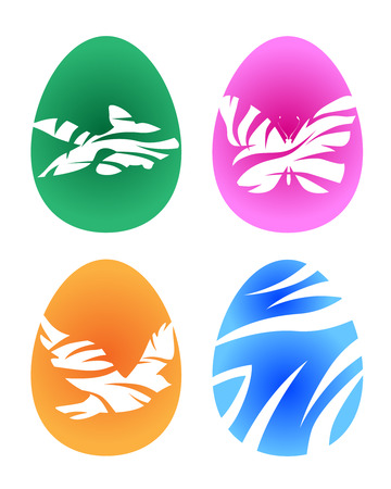 pigeon egg: Set of colorful easter eggs.