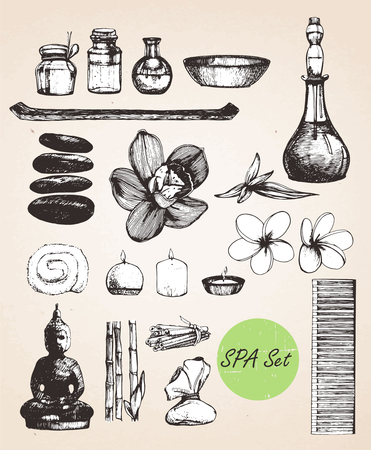 Hand drawn Spa Set. Vector isolated elements Stock Illustratie