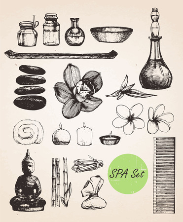 Hand drawn Spa Set. Vector isolated elements Çizim