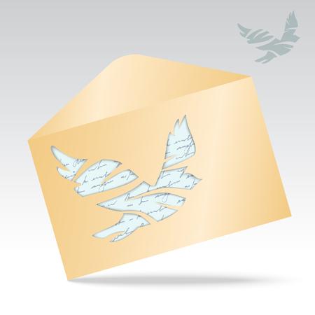 Vectorillustratie van envelop met duif.