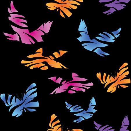 조류, 물고기와 나비 원활한 추상 패턴입니다. 벡터. 일러스트