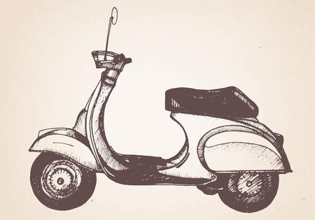 Hand drawn retro scooter. Vector.