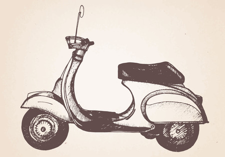 Hand drawn retro scooter. Vector.