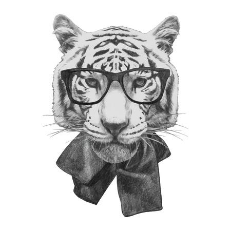 tigre bebe: dibujado a mano de la moda Ilustración de tigre.