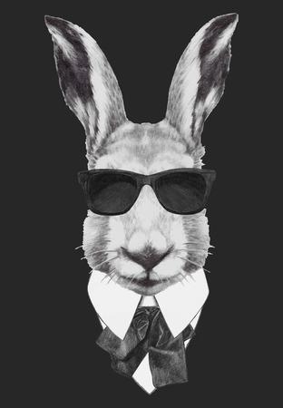 Hand drawn fashion Illustration of rabbit.