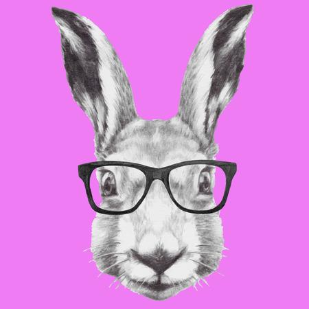Hand drawn portrait of rabbit with glasses. Vector isolated elements. Ilustração