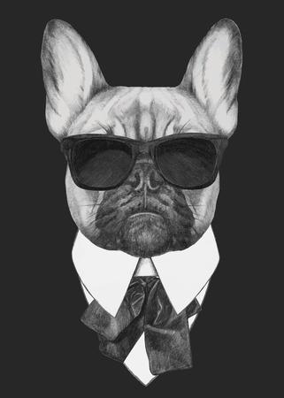 Hand gezeichnete Mode-Illustration von Französisch Bulldog. Vektor isolierte Elemente.