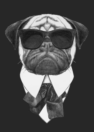 Mano moda illustrazione di Pug cane con occhiali da sole. Vettore isolato elementi.