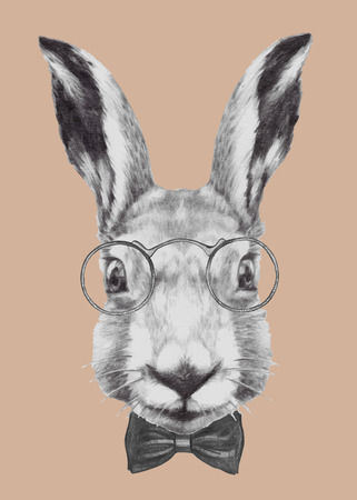 Hand drawn portrait of Rabbit with glasses and bow tie. Vector isolated elements. Illustration