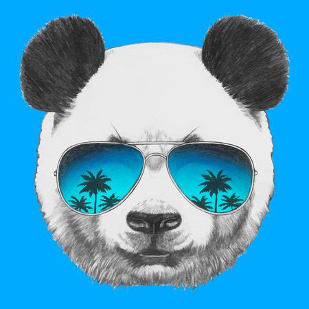 sunglasses isolated: Original drawing of Panda with mirror sunglasses. Isolated on colored background.