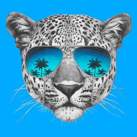 Hand drawn portrait of Leopard with mirror sunglasses. Vector isolated elements. Ilustração