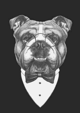 Retrato de Bulldog Inglés con gafas y corbata de lazo. Vector