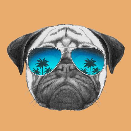 ミラー サングラスとパグ犬の肖像画。ベクトル