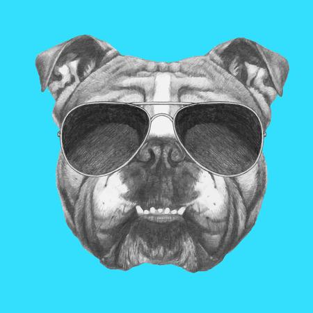 Dibujado a mano retrato de Bulldog Inglés con gafas de sol. Vector aislados elementos. Ilustración de vector