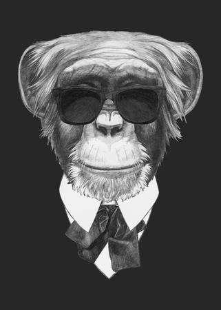 손으로 그린 패션 원숭이의 그림입니다. 벡터 격리 된 요소입니다.