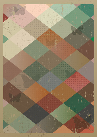 Abstract retro geometric background with butterflies. Vector Illustration