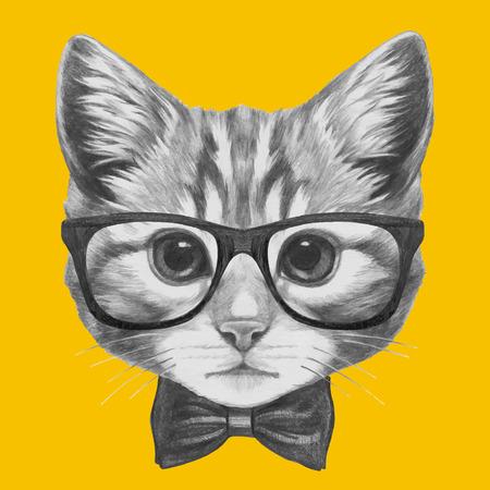 手描き肖像画猫のメガネと蝶ネクタイ。ベクトルの要素を分離しました。  イラスト・ベクター素材