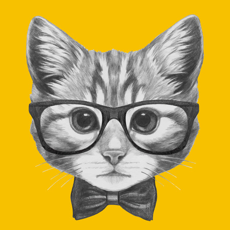Hand drawn portrait of Cat with glasses and bow tie. Vector isolated elements. Illustration