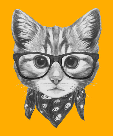 Hand drawn portrait of Cat with glasses and scarf. Vector isolated elements. Illusztráció