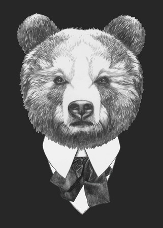 Hand drawn fashion Illustration of Bear. Vector isolated elements.