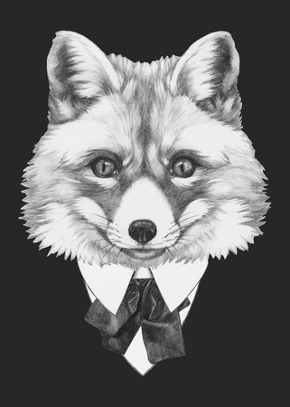 Portrait of Fox in suit. Hand drawn illustration. Vector