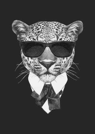スーツでヒョウの肖像画。手描きのイラスト。ベクトル